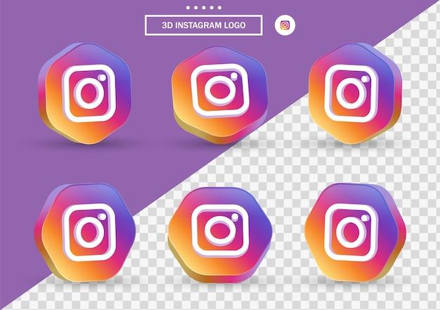 Ícone do instagram 3d em moldura de estilo moderno e polígono para logotipos de ícones de mídia social
