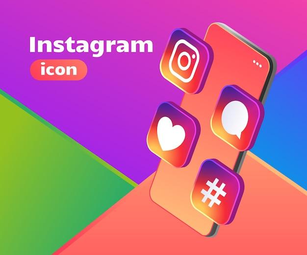 Ícone do instagram com logotipo 3d com smartphone