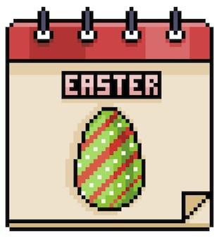 Ícone do jogo do calendário do feriado da páscoa pixel art isolado