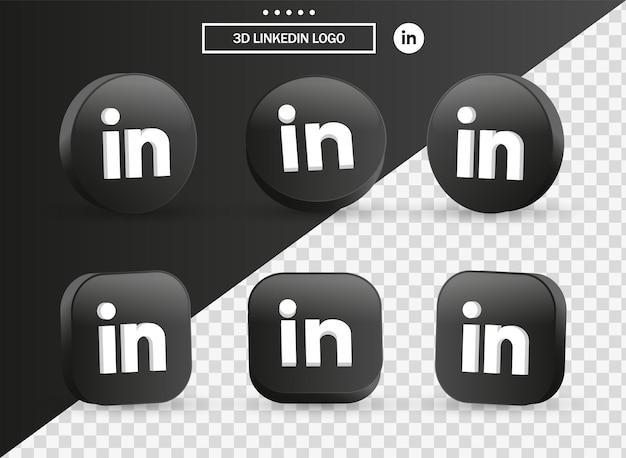 Ícone do logotipo 3d do linkedin em um moderno círculo preto e quadrado para logotipos de ícones de mídia social