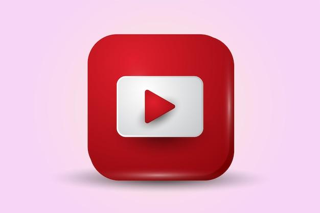 Ícone do logotipo 3d do youtube isolado
