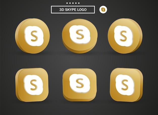 Ícone do logotipo 3d skype em moderno círculo dourado e quadrado para logotipos de ícones de mídia social