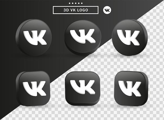 Ícone do logotipo 3d vk vkontakte em moderno círculo preto e quadrado para logotipos de ícones de mídia social