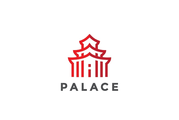 Ícone do logotipo da arquitetura asiática. estilo linear