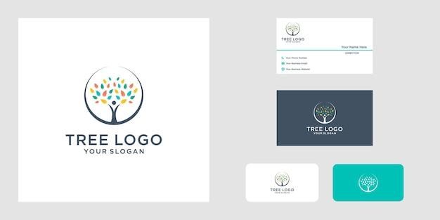 Ícone do logotipo da árvore e design do cartão de visita