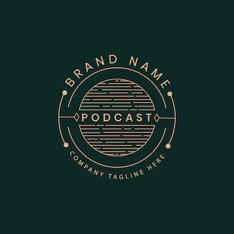 Ícone do logotipo da transmissão de rádio de podcast caligráfico de luxo retrô vitoriano