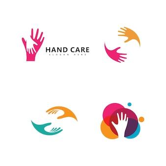 Ícone do logotipo de cuidados com as mãos modelo de símbolo de vetor de negócios