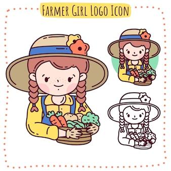 Ícone do logotipo de menina famer
