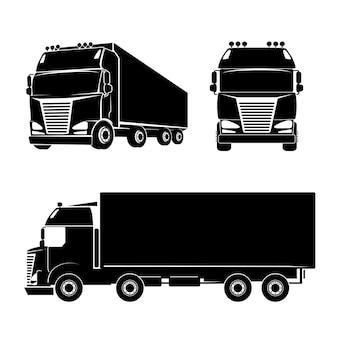 Ícone do logotipo do caminhão de silhueta negra. carro e carga e cabine. ilustração vetorial