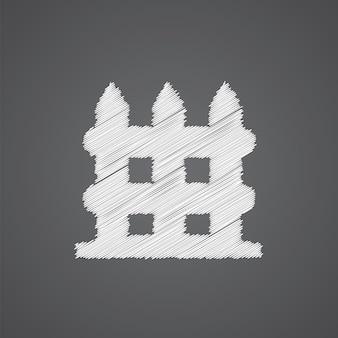 Ícone do logotipo do esboço da cerca isolado em fundo escuro