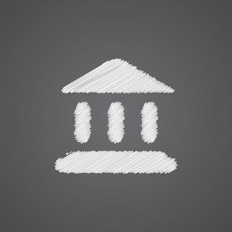 Ícone do logotipo do esboço do tribunal isolado em fundo escuro