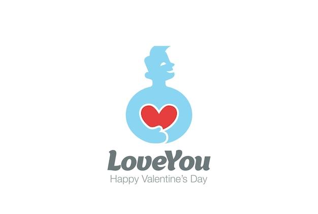 Ícone do logotipo do homem segurando o coração.