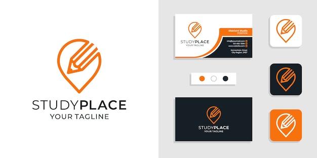 Ícone do logotipo do local de estudo e modelo de cartão de visita