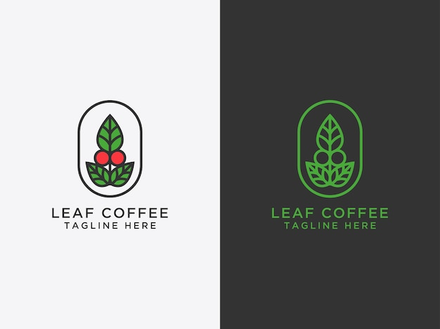 Ícone do logotipo do modelo projeto da folha e café