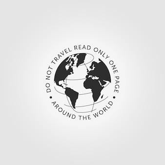 Ícone do logotipo do mundo do globo itinerante ilustração em vetor vintage