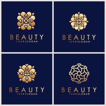 Ícone do logotipo do ornamento definido com vetor do conceito de folha