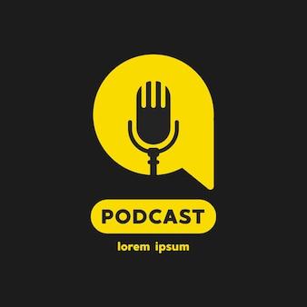 Ícone do logotipo do podcast radio. ilustração vetorial.