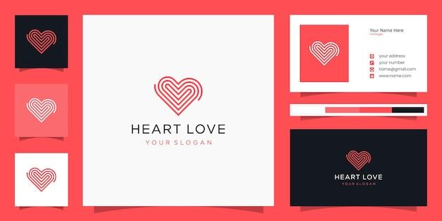 Ícone do logotipo do símbolo do coração e cartão de visita