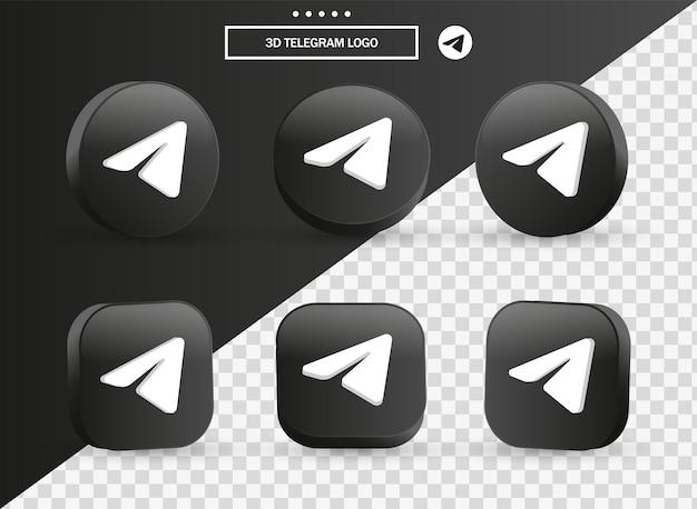Ícone do logotipo do telegrama 3d no moderno círculo preto e quadrado para logotipos de ícones de mídia social