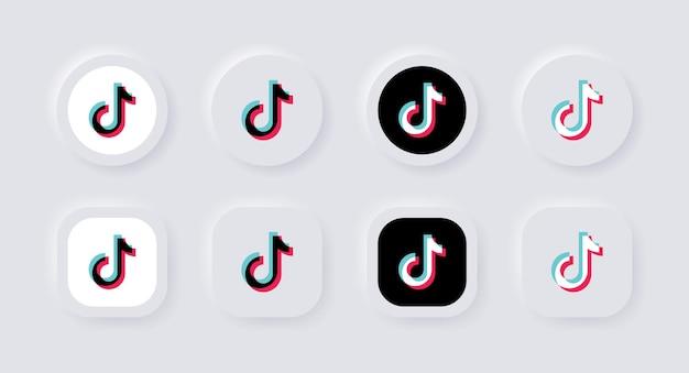Ícone do logotipo do tiktok neumórfico para logotipos de ícones de mídia social populares em botões de neumorfismo ui ux