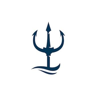 Ícone do logotipo do vetor trident ilustração símbolo do sinal