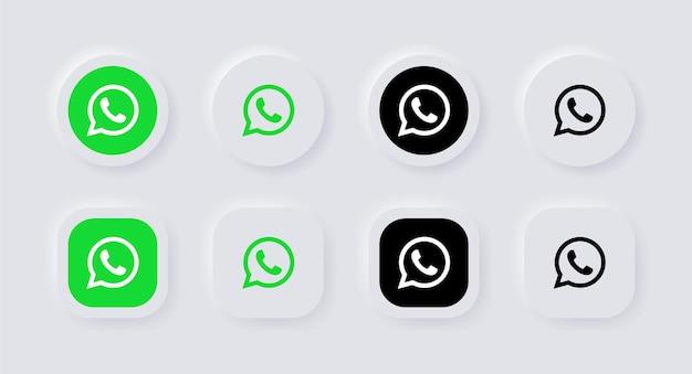Ícone do logotipo do whatsapp neumorfo para logotipos de ícones de mídia social populares em botões de neumorfismo ui ux