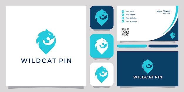 Ícone do logotipo do wildcat pin logotipo do modelo do logotipo e cartão de visita