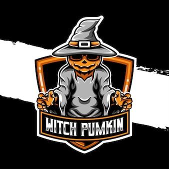 Ícone do logotipo esport do personagem bruxa abóbora