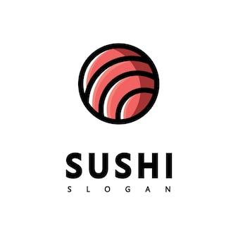 Ícone do logotipo ícone do vetor estilo ilustração bar ou loja, sushi, rolinho de salmão onigiri, objeto minimalista isolado