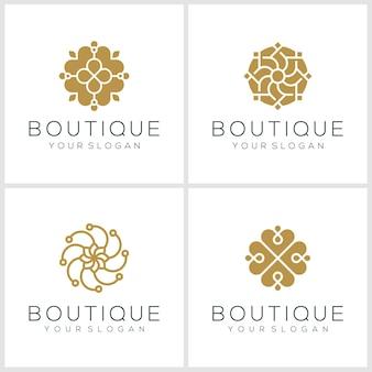 Ícone do logotipo natural do ornamento definido com o vetor do conceito de folha