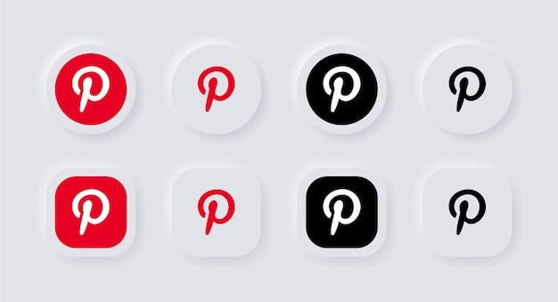 Ícone do logotipo neumorphic pinterest para logotipos de ícones de mídia social populares em botões de neumorfismo ui ux