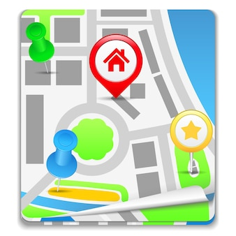 Ícone do mapa, ilustração