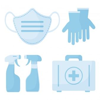 Ícone do medicamento. spray de desinfecção, máscara médica, estojo de primeiros socorros, luvas cirúrgicas. ilustração