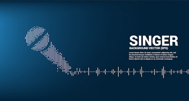 Ícone do microfone da onda sonora fundo do equalizador. conceito de estilo visual gráfico de karaokê e concerto