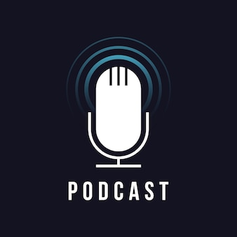 Ícone do microfone do estúdio de mesa. sinal de transmissão. emblema do podcast. ilustração vetorial de microfone de rádio