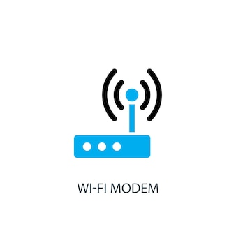 Ícone do modem wi-fi. ilustração do elemento do logotipo. desenho de símbolo de modem wi-fi de 2 coleções coloridas. conceito simples de modem wi-fi. pode ser usado na web e no celular.