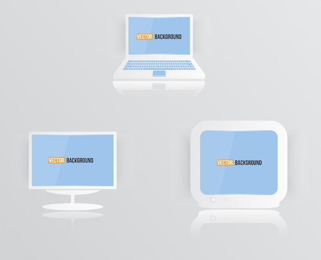 Ícone do monitor do vetor azul