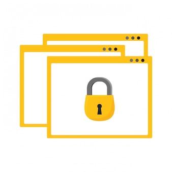 Ícone do navegador da web de segurança na internet