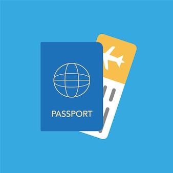 Ícone do passaporte e passagem aérea gráficos vetoriais