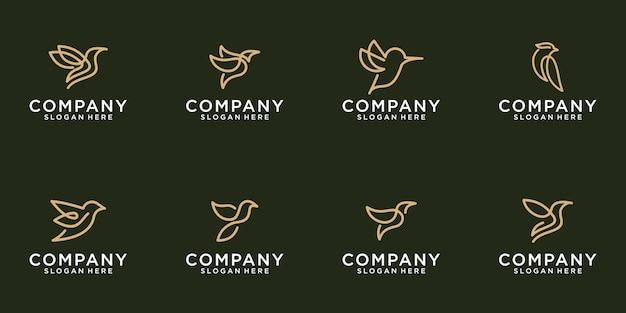 Ícone do pássaro do pacote de logotipo com um estilo de linha