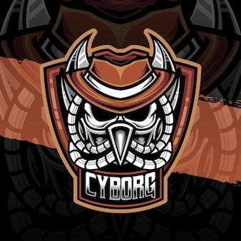 Ícone do personagem ciborgue do logotipo esport