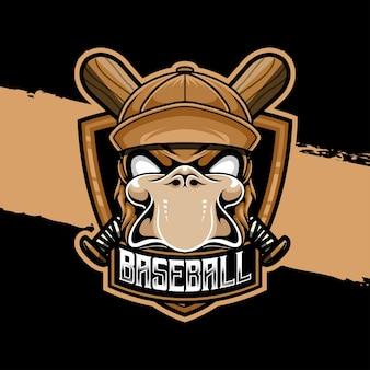 Ícone do personagem de beisebol de pato com logotipo esport