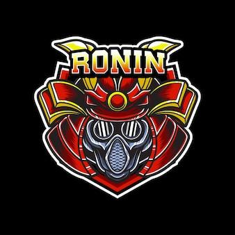 Ícone do personagem de samurai do logotipo esport