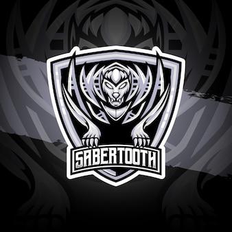 Ícone do personagem dente de sabre do logotipo esport