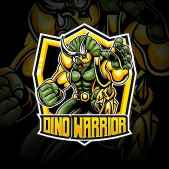 Ícone do personagem dino warrior com logotipo da espot