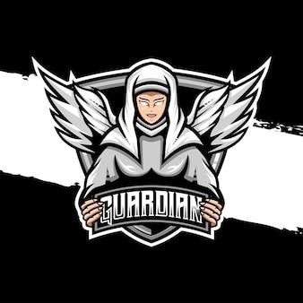 Ícone do personagem do ângulo do guardião do logotipo esport