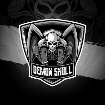 Ícone do personagem do crânio do demônio logotipo esport
