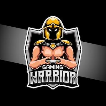 Ícone do personagem do jogo guerreiro do logotipo esport