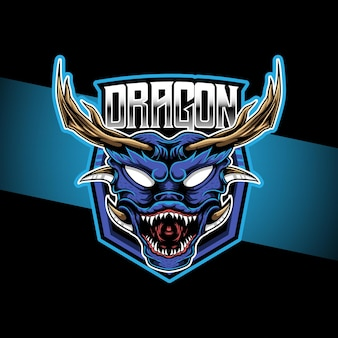 Ícone do personagem dragão cabeça com logotipo esport