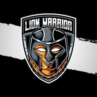 Ícone do personagem guerreiro leão com logotipo esport